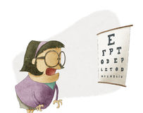 Mulher que tenta ver letras em uma carta de teste da visão Imagem de Stock