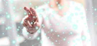 Mulher que toca em uma rede virtual ilustração do vetor