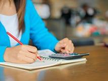 Mulher que trabalha com calculadora, Imagens de Stock