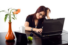 Mulher que trabalha duramente Fotos de Stock Royalty Free