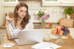 Mulher que trabalha em casa Foto de Stock