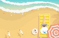 Mulher que trabalha na praia ilustração royalty free