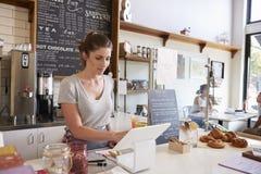 Mulher que trabalha no até em uma cafetaria, ângulo largo imagens de stock royalty free