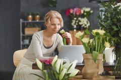 Mulher que trabalha no florista fotografia de stock royalty free