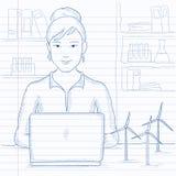 Mulher que trabalha no portátil ilustração do vetor