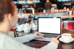 Mulher que trabalha no portátil Foto de Stock