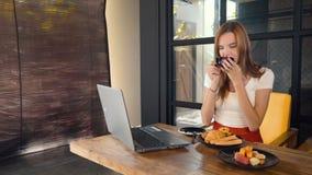 Mulher que trabalha no portátil e no café bebendo no café vídeos de arquivo