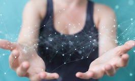Mulher que usa conex?es de rede digital de flutua??o com os pontos e as linhas rendi??o de 3D ilustração stock