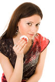Mulher que usa o algodão do wadof fotografia de stock