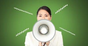 mulher que usa o megafone com ilustrações fotografia de stock royalty free