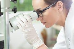 Mulher que usa o microscópio no laboratório Fotos de Stock Royalty Free