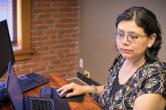 Mulher que usa o portátil e os focos na tarefa à mão Fotos de Stock Royalty Free
