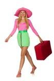 Mulher que vai nas férias de verão isoladas Fotografia de Stock Royalty Free