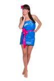 Mulher que veste o plástico azul Imagem de Stock