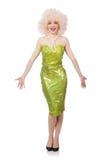 A mulher que veste a peruca justa encaracolado isolada no branco Foto de Stock Royalty Free