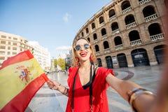 Mulher que viaja na cidade de Valência fotos de stock