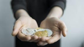 A mulher realiza em moedas físicas do cryptocurrency das mãos - litecoin dourado e de prata dos bitcoins, do ethereum e da prata  fotografia de stock