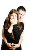 Mulher receosa e homem irritado Foto de Stock Royalty Free