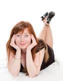 Mulher red-haired bonita Imagens de Stock