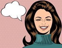 Mulher retro bonito do pop art no riso do estilo da banda desenhada ilustração do vetor
