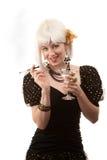 Mulher retro com cabelo branco Imagem de Stock Royalty Free