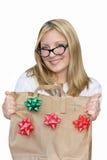 Mulher retro isolada com saco do feriado. Foto de Stock