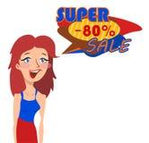 Mulher retro surpreendida do estilo dos desenhos animados Fotografia de Stock Royalty Free