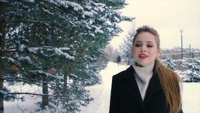 Mulher rica moreno no revestimento preto no fundo do movimento lento de árvore de Natal vídeos de arquivo