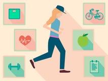Mulher running com ícone da aptidão no projeto liso Imagens de Stock Royalty Free
