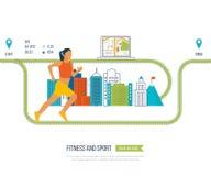 Mulher Running Conceito saudável do estilo de vida, da aptidão e da atividade física Imagem de Stock Royalty Free