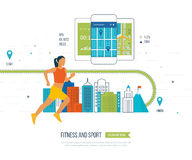 Mulher Running Conceito saudável do estilo de vida, da aptidão e da atividade física Fotos de Stock