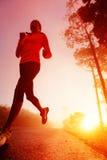 Mulher running do nascer do sol Fotografia de Stock Royalty Free