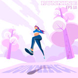 Mulher running exterior Menina movimentando-se No parque ilustração stock