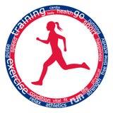 Mulher running, palavras Fotografia de Stock Royalty Free