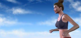 Mulher Running virtual ilustração royalty free