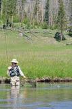 Mulher sênior ativa com os peixes que pulam para pescar imagem de stock royalty free
