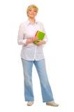 Mulher sênior com livros Fotos de Stock