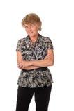 Mulher sênior em preto e branco isolada no branco Imagens de Stock Royalty Free
