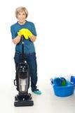 Mulher sênior feliz pronta para o housework imagem de stock royalty free