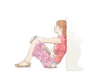 Mulher só ilustração royalty free