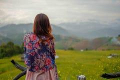Mulher só no campo do arroz do borrão fotos de stock