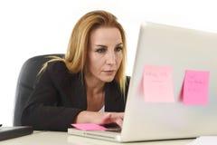 Mulher 40s atrativa loura no terno de negócio que trabalha no laptop imagem de stock royalty free
