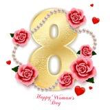 Mulher ` s dia o 8 de março feliz com rosas, corações e pérolas Fotos de Stock