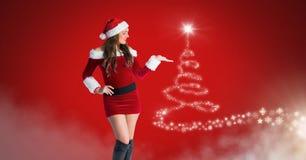A mulher Santa e a árvore de Natal do floco de neve modelam a incandescência da forma ilustração stock
