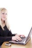 Mulher satisfeita com trabalho Imagens de Stock Royalty Free