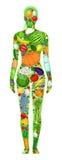 Mulher saudável, alimento, vetor Foto de Stock Royalty Free