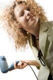 A mulher seca o cabelo imagens de stock royalty free