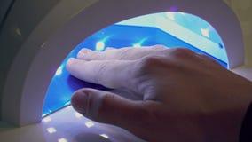 A mulher seca o verniz para as unhas no close-up de secagem UV video estoque