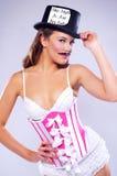 Mulher sensual nova no espartilho e no bigode fotografia de stock royalty free