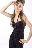 Mulher sensual nova no vestido preto Fotografia de Stock Royalty Free